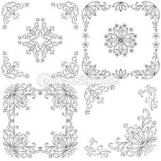 Set abstract floral backgrounds, outline — Stock Vector #13898849