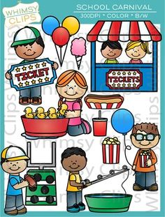 The School Carnival clip art set contains 53 image files, which includes 30 color images and 23 black & white images in png. All images are 300dpi for better scaling and printing.