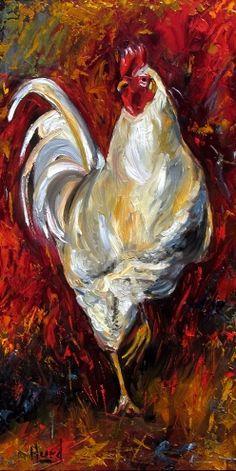 Rooster Art Original Oil painting farm animal paintings by Debra Hurd -- Debra Hurd