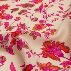 Tissu satin fleur fushia orange - matiere Satin motif Fleur
