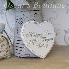 Happy ever after begins here hanging heart. Only £5.75 with free P&P.