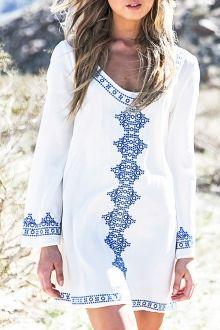 V Neck Long Sleeve Straight Dress