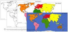 Montessori world map colors
