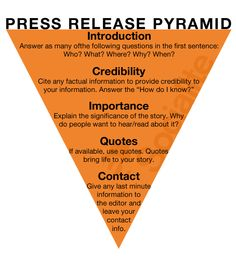 press release can serve as an official way to update the media or members of an organization with current events of a company. The body of the release should be written in inverted pyramid style with the most important information at the top.