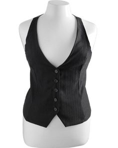 Plus Size Suspender Pinstripe Vest