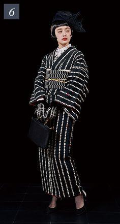 いろはトランプストライプ Japanese Outfits, Japanese Fashion, Modern Kimono, Character Costumes, Black N White, Yukata, Kimono Fashion, Op Art, Geisha