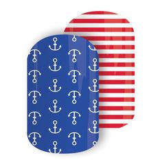 Sailing Seas | Jamberry Nails Take to the waves with this Mixed Mani featuring vibrant stripes and nautical anchors in a glossy finish. #SAILINGSEASJN