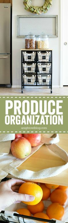 This simple cart and basket system is the perfect Produce Kitchen Organizational and Storage solution!