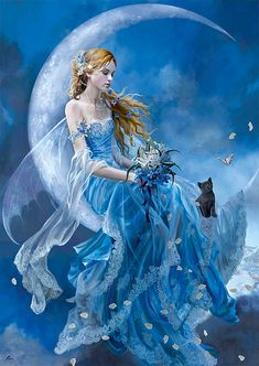 Blue moon fairy with black cat. Elfen Fantasy, Moon Fairy, Fairy Pictures, Pictures Images, Art Images, Blue Fairy, Fantasy Kunst, Beautiful Fairies, Real Fairies
