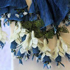 "Delicate needle-lace flowers on this ""Emel"" scarf from benimki.com.au #handcrafted #needlelace #fairtrade #flowerpower #sentoverfromturkey #madeinamasya #scarves #oya"