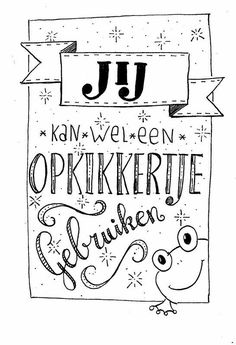 Opkikkertje Doodle Lettering, Hand Lettering Quotes, Brush Lettering, Zentangle, Doodle Drawing, Scrapbook Letters, Bujo, Hand Lettering For Beginners, Bullet Journal Quotes