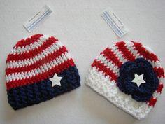 Patriotic American Flag Twins Hand Crochet baby boy girl set of 2 hat beanie 4 th july dark navy blue white red newborn 0-3M gift phopo prop. $31.00, via Etsy.