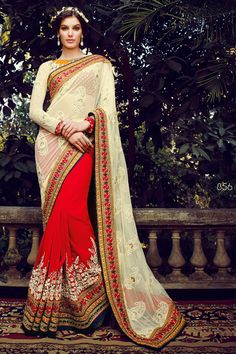 Cream Designer Party Wear Saree With Blouse From skysarees.