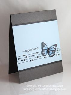love the clean look of this card by Laurie Willison  #bling #cas