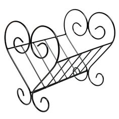 Decorative Scrollwork Heart Shape Design Black Metal Book & Magazine Holder - MyGift