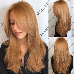This Golden Strawberry Blonde Shaggy Layered Cut with Center Part is a great look for someone seeking a classic feminine style. The long razor cut layers can be worn sleek and straight, with textured waves or curls, or with a simple blowout for body and movement. Braids and updos can be created too. Styling tips for this long shaggy layered haircut and other similar long hairstyles can be found at Hairstyleology.com