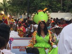 Caribbean dress and a crazy fruit hat