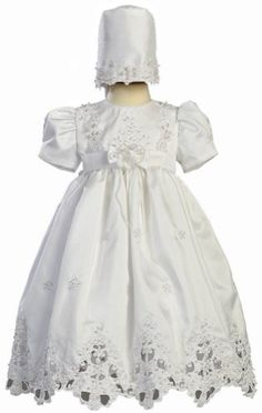White Shantung Christening Baptism Dress with Cutwork Accents and Bonnet  S 36 Month -- You can find out more details at the link of the image.