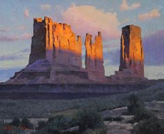 Calvin Liang, Light and Shadow, oil, 20 x - Southwest Art Magazine Western Landscape, Landscape Art, Landscape Paintings, Landscapes, Gouache, Desert Art, Southwest Art, Mountain Paintings, Traditional Paintings