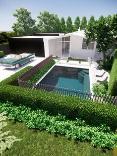 tristanpeirce Landscape Architecture Pool and Garden Design Perth Western Australia - Front courtyard pool for a rennovation project with timber fencing and a fully tiled concrete pool. Courtyard Pool, Front Courtyard, Timber Fencing, Perth Western Australia, Concrete Pool, Landscape Architecture Design, Garden Design, Outdoor Decor, Projects