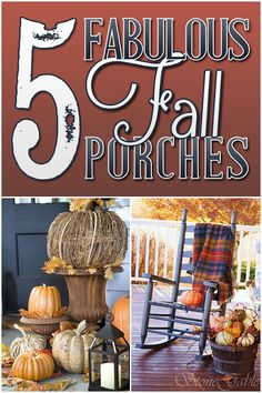 Fall Decor / Autumn / Thanksgiving / Seasonal Decor / Fall Porch / Porch / - Five Fabulous Fall Porches Autumn Decorating, Porch Decorating, Decorating Ideas, Craft Ideas, Decor Ideas, Thanksgiving Decorations, Seasonal Decor, Fall Decorations, Thanksgiving Ideas