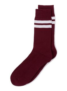 Burgundy Stripe Tube Socks - Men's Socks  - Clothing