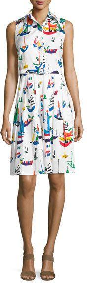 Samantha Sung Audrey Sailboat-Print Sleeveless Shirtdress, White