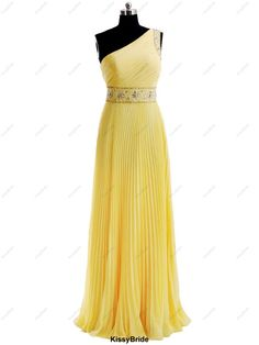 Long prom dress yellow prom dress / long evening by KissyBride, $189.00