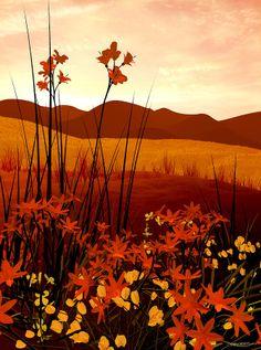 Field Of Flowers Digital Art  - Field Of Flowers Fine Art Print