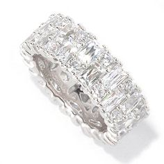 TYCOON 5.78 DEW Prong Set Rectangle & Round Simulated Diamond Eternity Band Ring