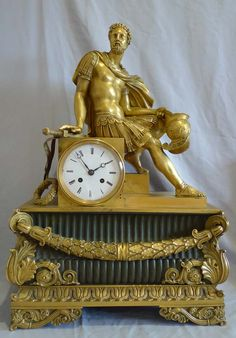 Antique French mantel clock Charles X of Marcus Aurelius in ormolu and patinated bronze. - Gavin Douglas Antiques