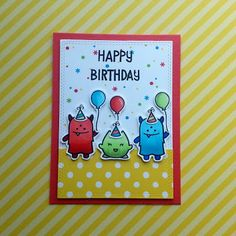 """A bright and colorful birthday card, using the """"Monster Mash"""" stamp set from """"Lawn Fawn""""."""