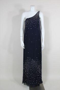 Halston Attribution Navy Chiffon & Jersey Rhinestone Gown image 9