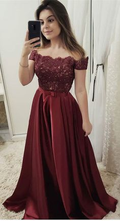 Burgundy off shoulder Lace Long Prom dress Burgundy Party Dress Evening dress Formal Gowns - 2020 New Prom Dresses Fashion - Fashion Of The Year Cheap Formal Dresses, Cheap Evening Dresses, A Line Prom Dresses, Event Dresses, Formal Gowns, Homecoming Dresses, Dress Formal, Dress Prom, Long Dresses