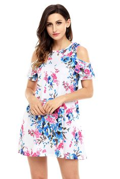 Floral Dresses Ruffled Cold Shoulder White Floral Dress Do Not Let Parenting Stress You Out Article Sexy Dresses, Short Sleeve Dresses, Dresses With Sleeves, Summer Dresses, Ruffle Dress, Boho Dress, White Floral Dress, Floral Dresses, Fashion 2020