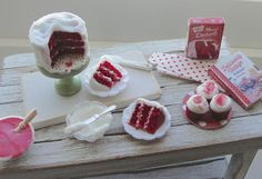 Dollhouse miniature red velvet layer cake and cupcakes