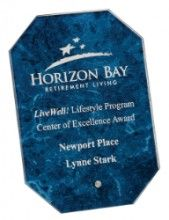 """Blue octagon glass award. Size: 5""""(L) x 7""""""""(H) x 1/4 - NO MINIMUMS - ONE DAY SERVICE AVAILABLE -  #award #custom #personalized #glass #winner #diamond #gift #present #blue #plaque #octagon"""