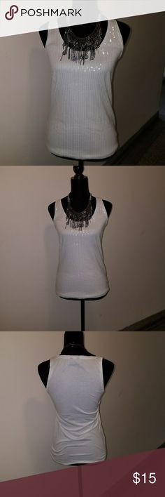 Sequin Top Super cute white sequin top tank style,  looks great with denim Ann Taylor  Tops Tank Tops