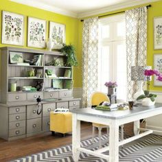 Chartreuse Home Office