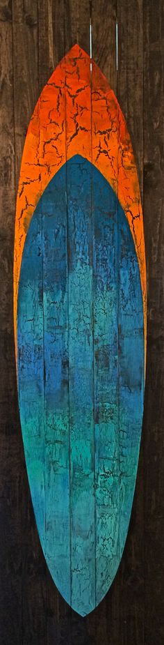 Life-sized (8' x 2') hand painted and texturized surfboard on wooden planks…