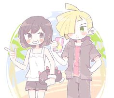 Pokémon sun and Moon characters Gladion and Moon in love. Sunmoonshipping
