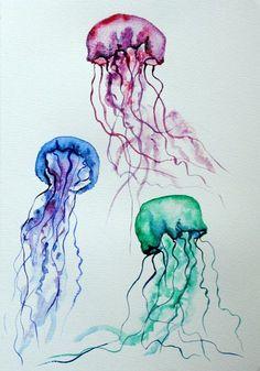 Resultado de imagen de tropical watercolor jellyfish