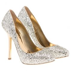 Miu Miu Silver Glitter Pumps. The ultimate glitter pump. Love the gold trim.