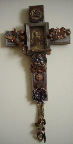 Nance Lopez Interfaith Cross Assemblage sculpture 46 x x 3 cm. Found Object Art, Found Art, Cross Crafts, Religious Icons, Assemblage Art, Sacred Art, Crucifix, Medium Art, Art Google