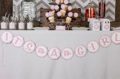 Elephant It's a Girl Banner Baby Shower - Pink & Grey