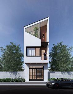 47 Ideas Exterior Facade House Entrance For 2019 House Front Design, Small House Design, Modern House Design, House Design Photos, Futuristisches Design, Facade Design, Exterior Design, Narrow House Designs, Townhouse Designs