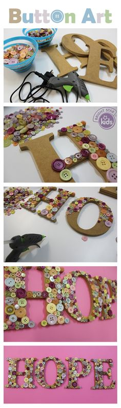 Do you have spare buttons lying around the house? We've created an easy and enjoyable DIY Button art guide! You can find it on our blog here: http://www.blog.brightstarkids.com.au/button-art #buttons #woodenletter #craft