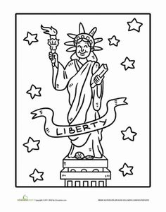 July 4th/Independence Day Preschool Holiday Worksheets: Statue of Liberty Coloring Page Worksheet