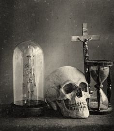 """Still life with skull"" – old daguerrotype from 1850. I have a print of this hanging in my living room."