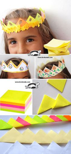 Have a cube of post-it notes? Make a fancy crown! || #LittlePassports #arts and #crafts for #kids